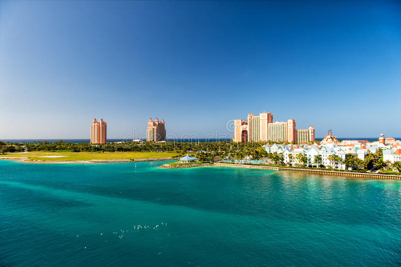 The Atlantis Paradise Island resort, located in the Bahamas. The resort cost $800 million to bring to life the myth and legend of the lost city of Atlantis royalty free stock photos