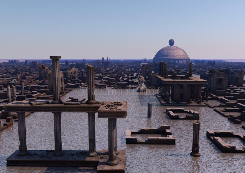 Atlantis. Representation of ancient mythical Atlantis submerged city vector illustration