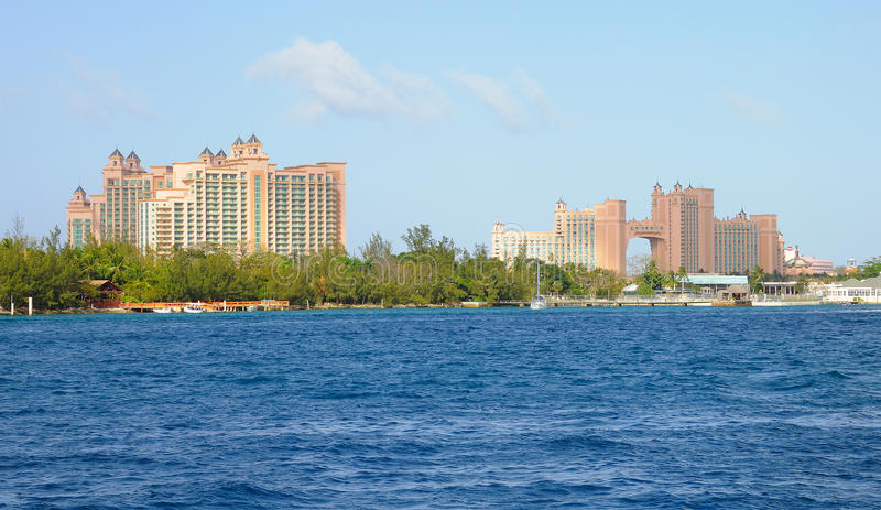 Atlantis Resort Bahamas. Panoramic view of Atlantis resort on Paradise Island in Nassau, Bahamas royalty free stock photos