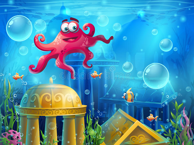 Atlantis ruins cartoon octopus - vector background illustration vector illustration