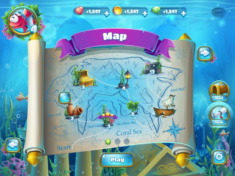 Atlantis ruins with fish rocket - level game map stock illustration