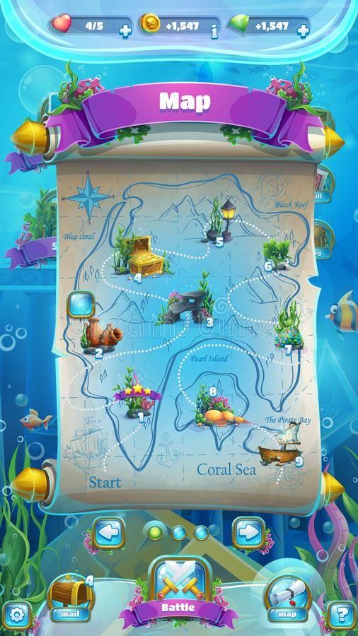 Atlantis ruins GUI - mobile format level map. Atlantis ruins - vector illustration mobile format level map to the computer game. Bright background image to royalty free illustration