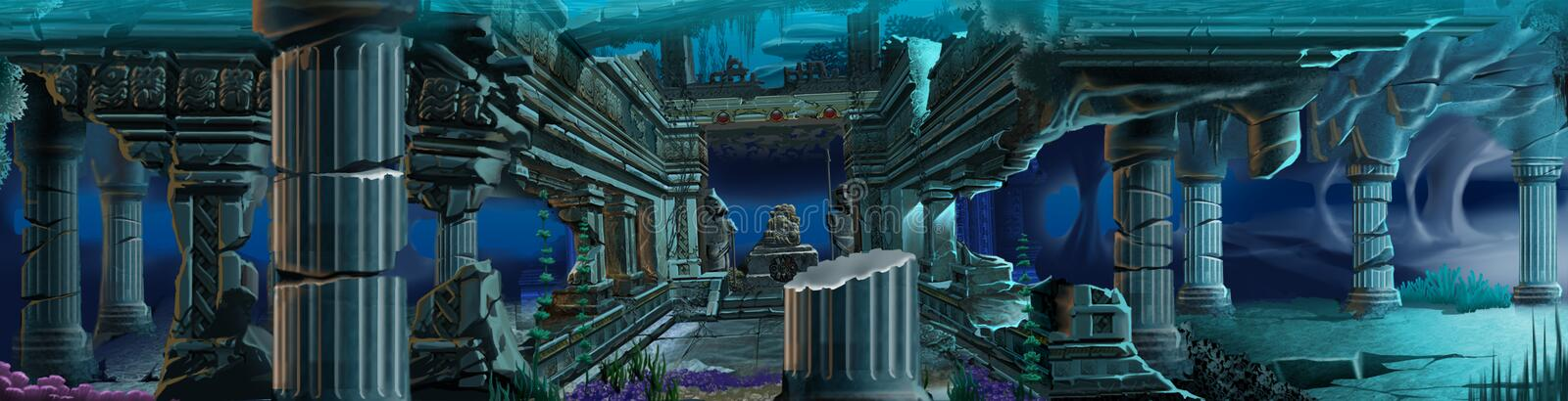 Atlantis ruins. Underwater background. stock illustration