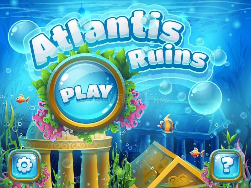 Atlantis ruiny - wektorowy ilustracyjny buta ekran komputer ilustracji