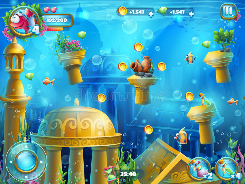 Atlantis rujnuje plac zabaw ilustracja wektor