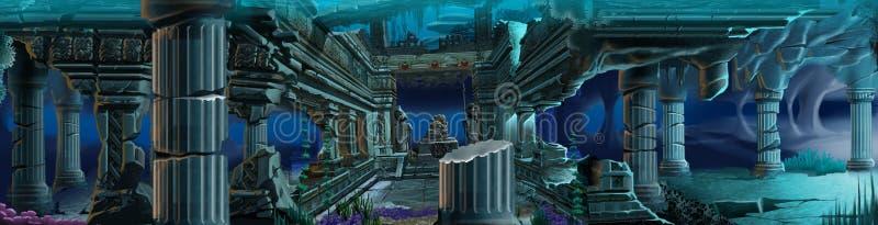 atlantis tło rujnuje underwater ilustracji