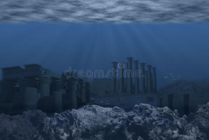Atlantis. World after be destroyed by water royalty free illustration