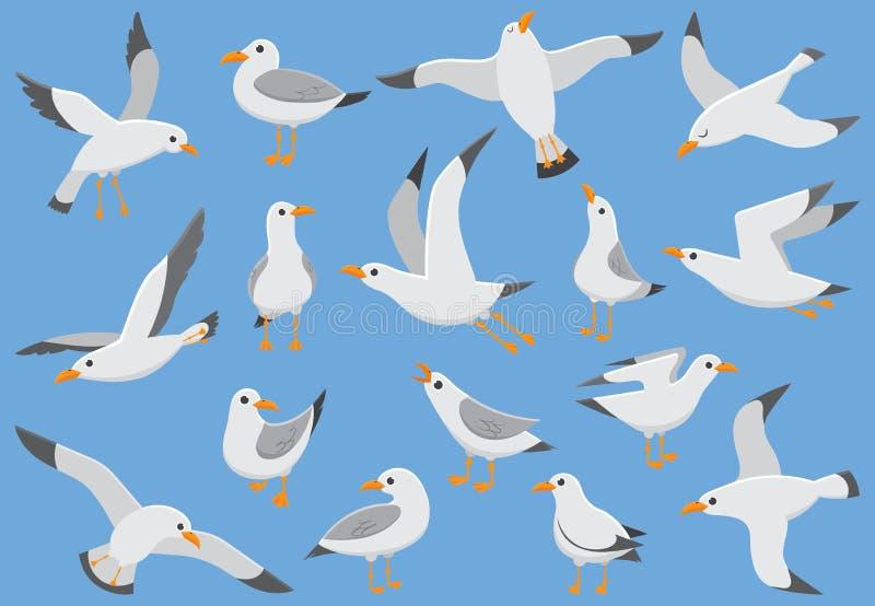 Atlantische witte zeevogelvlieg bij hemel Strandzeemeeuw bij kade Zeevogels, de vectorillustratie van het meeuwbeeldverhaal stock illustratie