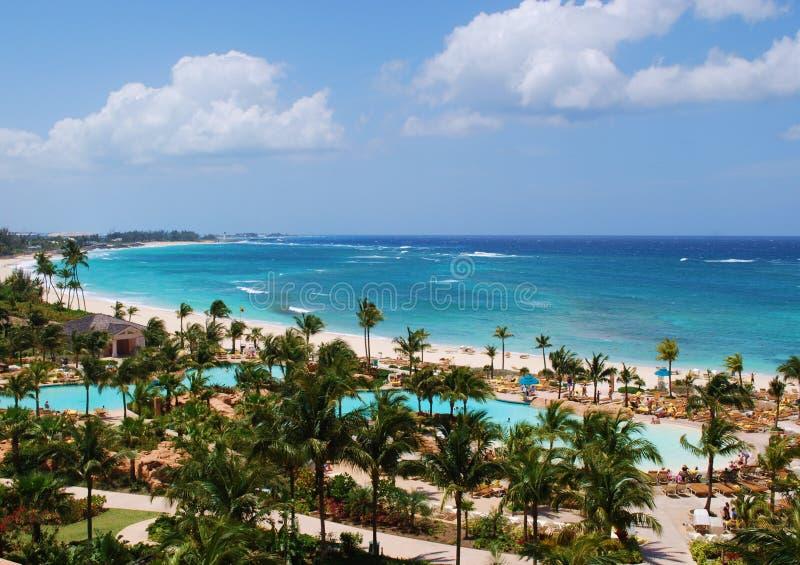 Atlantisstrand de Bahamas stock foto's