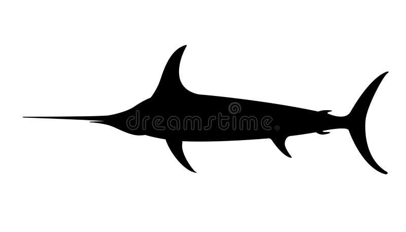 Atlantyccy swordfish, wektorowa ilustracja, czarna sylwetka ilustracja wektor
