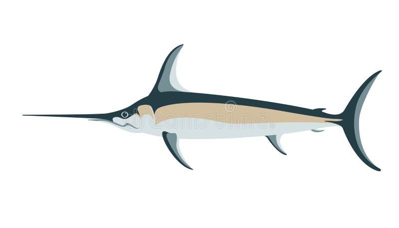 Atlantyccy swordfish, wektorowa ilustracja, mieszkanie styl ilustracji