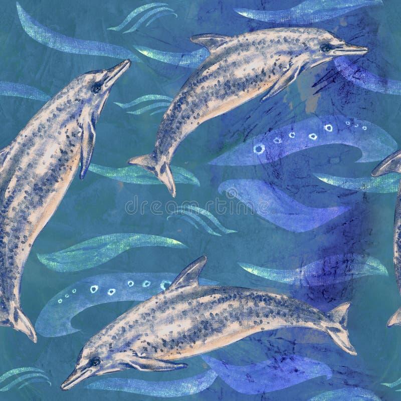 Atlantycki Łaciasty delfin, ręka malował akwareli ilustrację, bezszwowy wzór na błękitnym oceanie z fala royalty ilustracja
