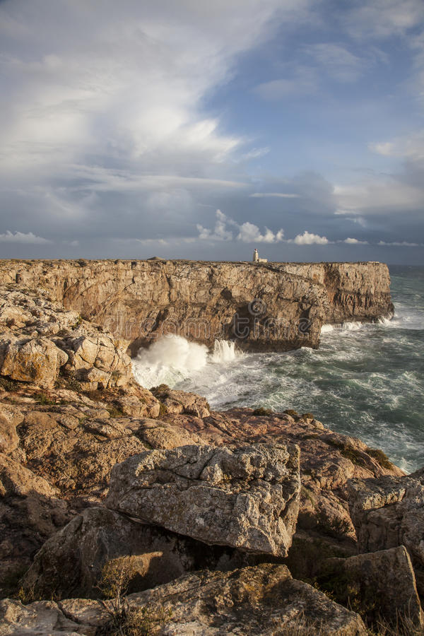 Atlantyk wybrzeże przy Ponta De Sagres, Portugalia zdjęcie royalty free