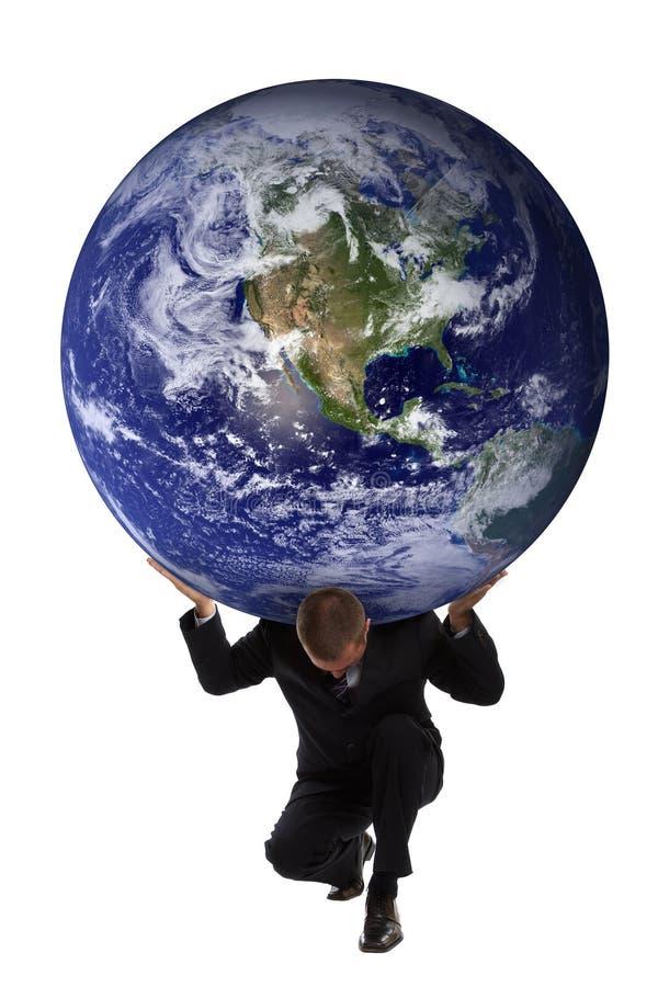 Atlas Businessman. Businessman holding the earth globe on his shoulders - Greek mytholgy - Atlas