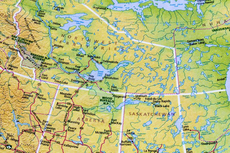 Atlas canadien de carte de Canada photo stock