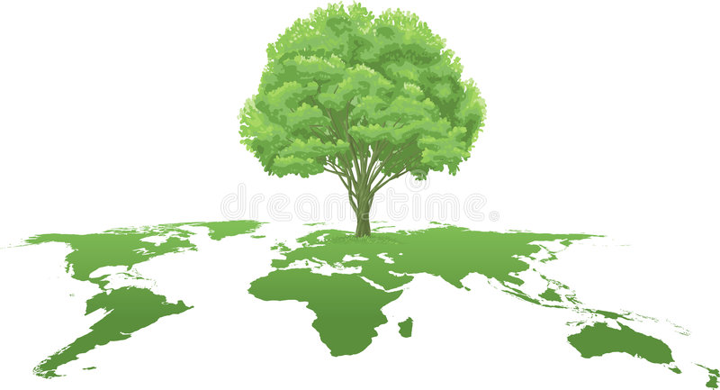 Atlas de mundo verde del árbol stock de ilustración