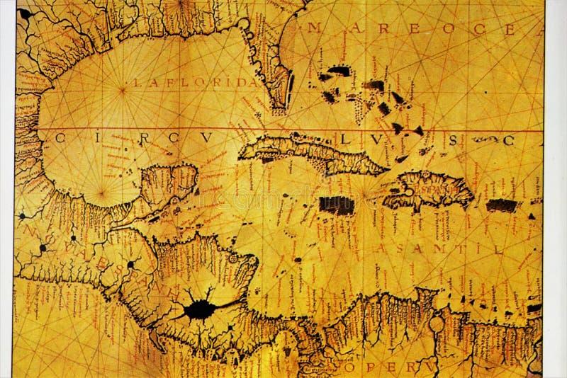 Atlas des 12. Jahrhunderts Karte der karibischen und zentralamerikanischen Zone Alte Karten wurden von den Handwerkern hergestell lizenzfreies stockbild