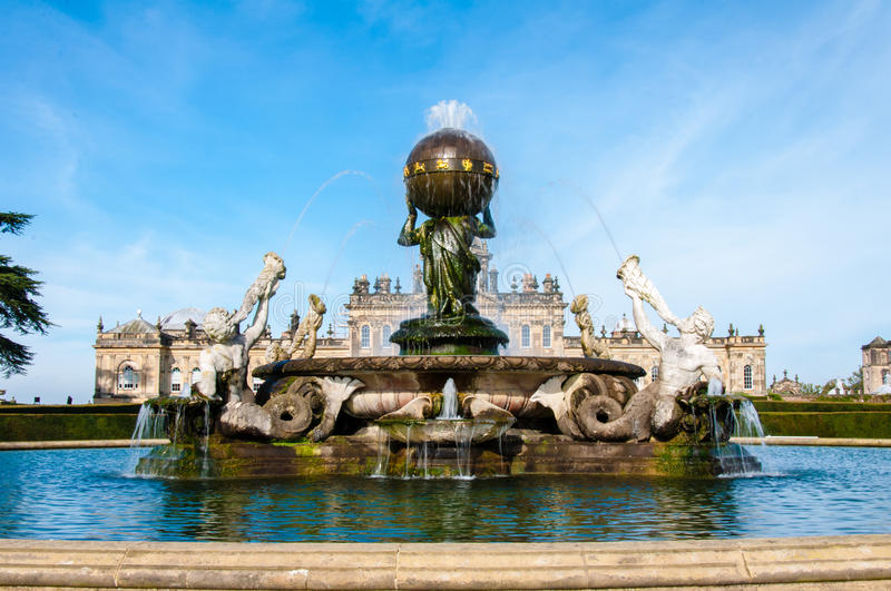Atlas Fountain at Castle Howard, North Yorkshire, UK. United Kingdom, North Yorkshire - October 5, 2014: Castle Howard is a famous stately home for Brideshead royalty free stock photography