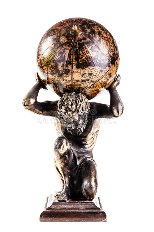Atlas globe. A sculpture of the mythic Atlas holding the world over a white background royalty free stock photos