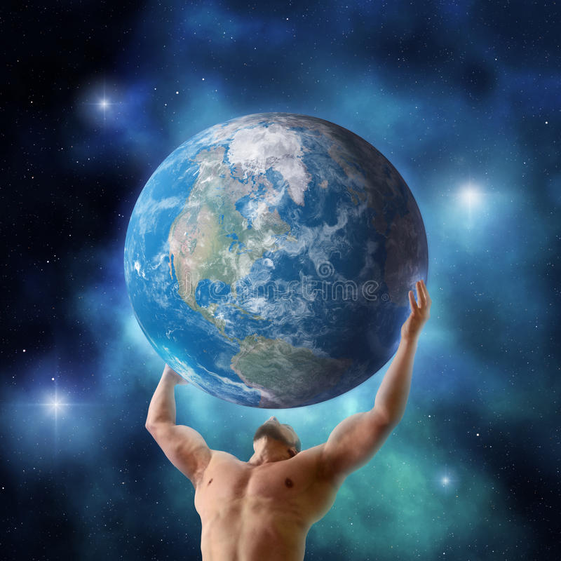 Atlas holding the world. Mythical titan Atlas holding up the planet Earth stock photography