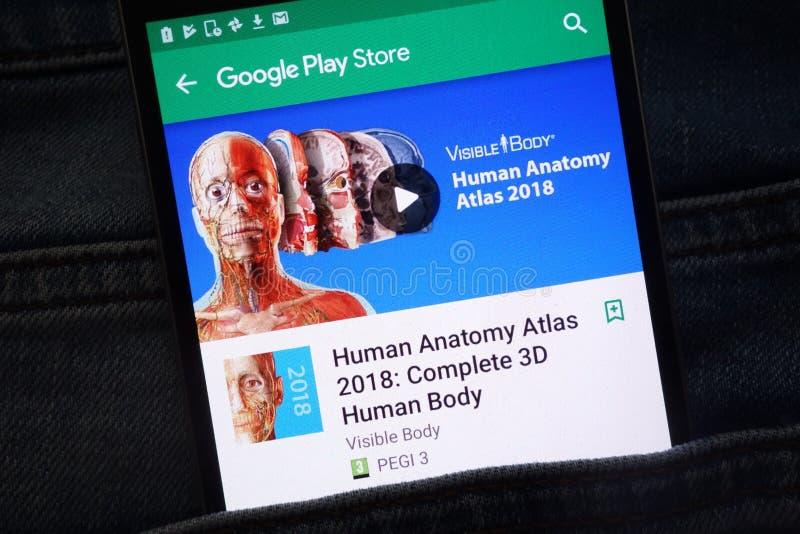 Atlas humain 2018 d'anatomie : Appli complet du corps humain 3D sur le site Web de Google Play Store montré sur le smartphone photographie stock libre de droits