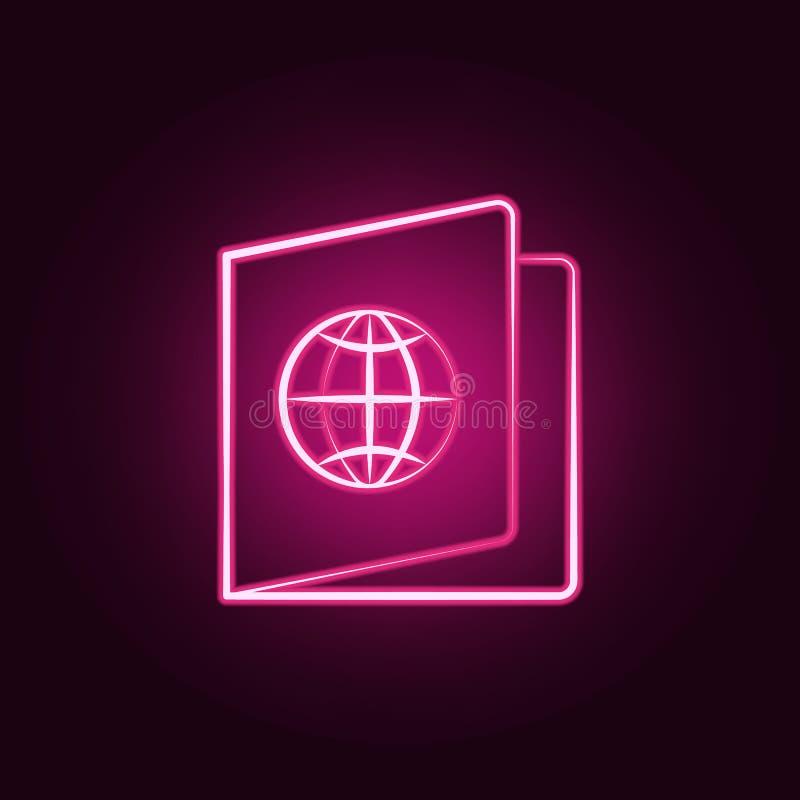 Atlas map neon icon. Elements of travel set. Simple icon for websites, web design, mobile app, info graphics. On dark gradient background stock illustration