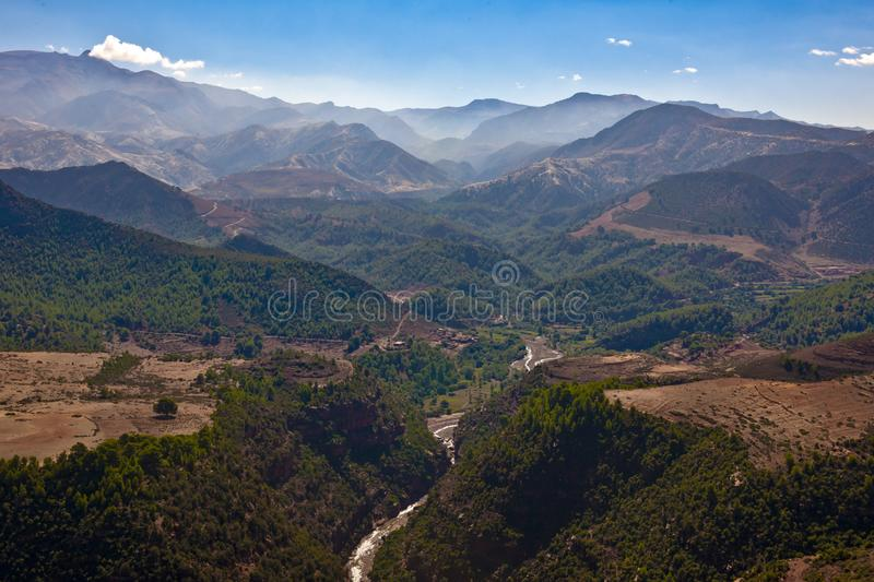 Atlas Mountains, mountains chain in Morocco with cayon royalty free stock images
