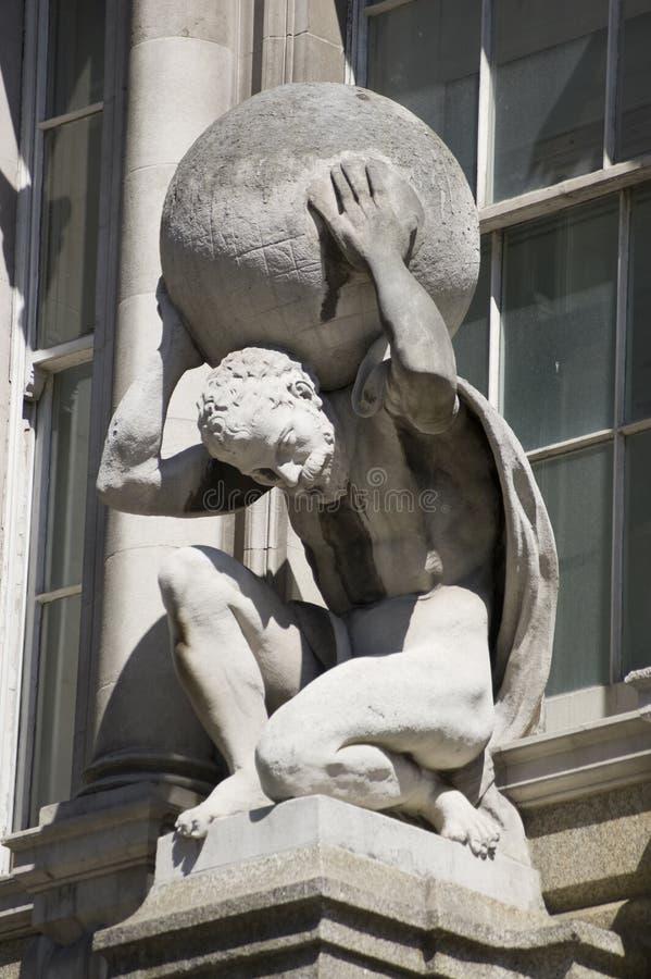 Atlas-Statue, Stadt von London stockbilder