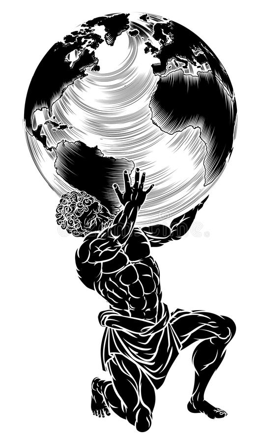 Atlas Titan Holding Globe Stock Vector Illustration Of Carrying