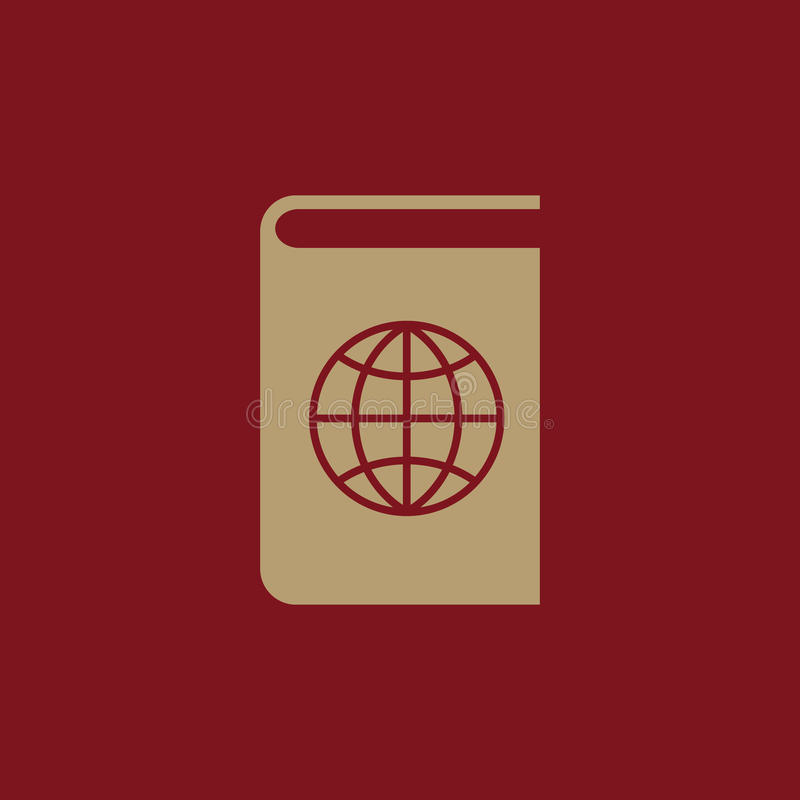 Atlas- und Kugelikone ENV 10 Geografie, Atlassymbol web graphik jpg ai app zeichen nachricht flach bild stock abbildung