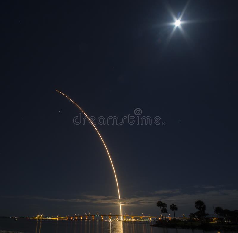 Atlas V rocket launch from Cape Canaveral. Time lapse view of an Atlas V rocket being launched from Cape Canaveral Air Force Station on the 22nd of March 2016 royalty free stock images