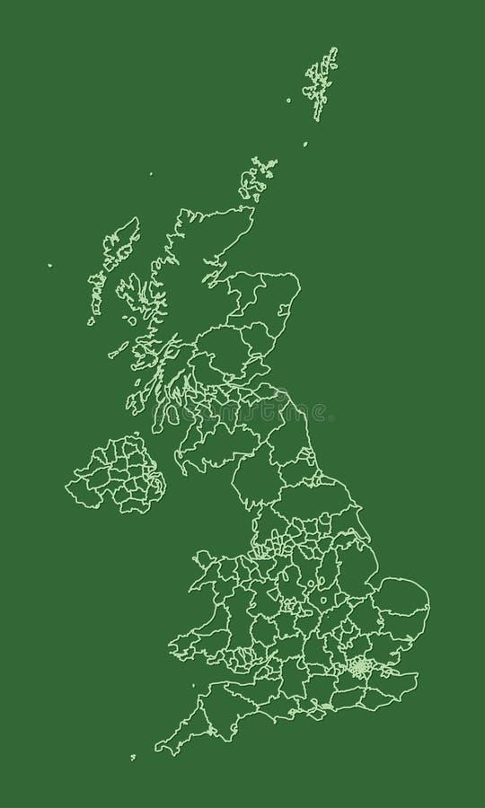 Atlas verde de Grâ Bretanha com estados diferentes com beiras no fundo escuro ilustração royalty free