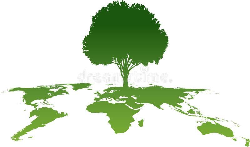 Atlas verde del árbol stock de ilustración