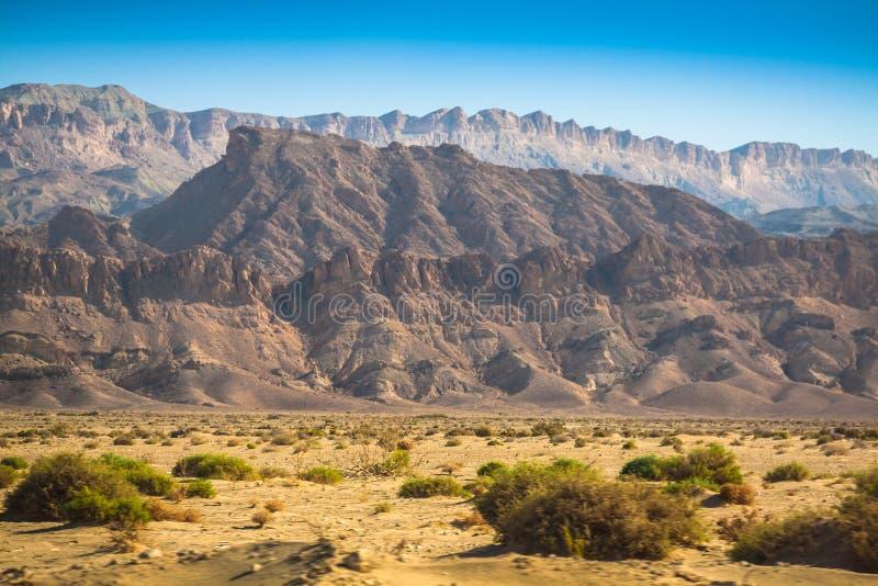 Atlasbergen, Chebika, grens van de Sahara, Tunesië stock afbeelding