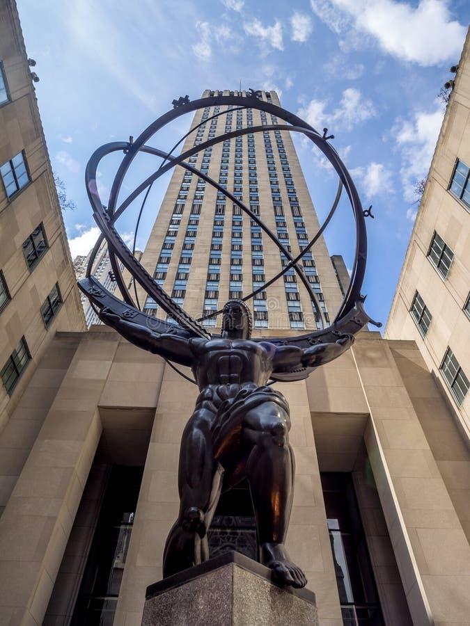 Atlasstatue in Rockefeller-Mitte stockbild