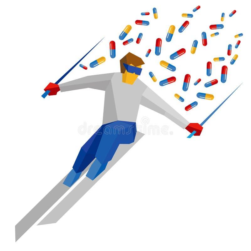 Atleet in het blauwe en rode lopen op ski, partij van pillen die erachter vliegen vector illustratie