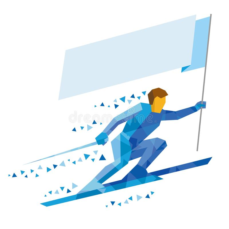 Atleet in het blauwe ski?en met lege vlag royalty-vrije illustratie