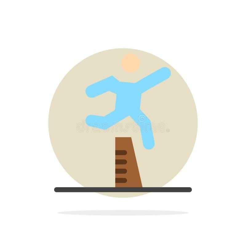 Atleet, het Springen, Agent, het Lopen, van de Achtergrond steeplechase Abstract Cirkel Vlak kleurenpictogram stock illustratie