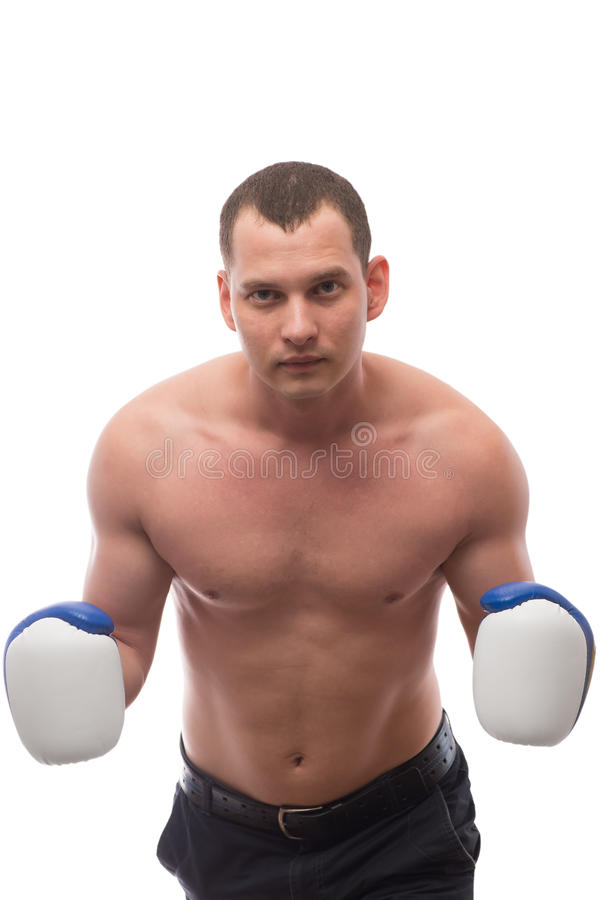 Atleet met bokshandschoenen op een witte achtergrond royalty-vrije stock foto