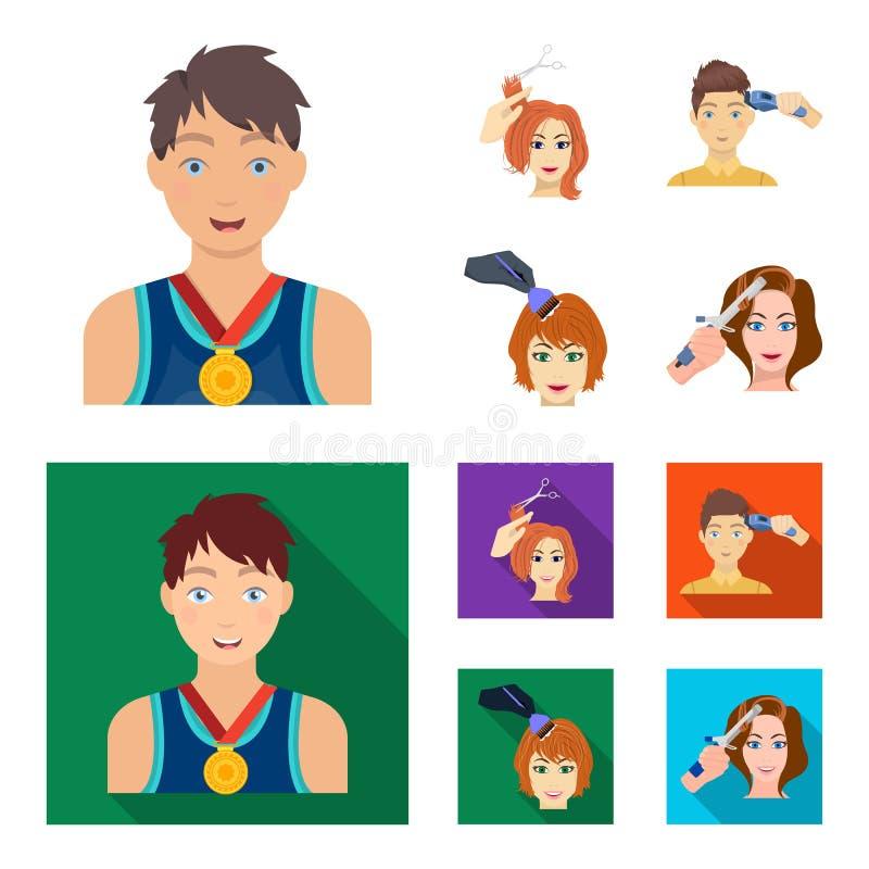 Atleet met een medaille, een kapsel met een elektrische schrijfmachine en ander Webpictogram in beeldverhaal, vlakke stijl Vrouwe royalty-vrije illustratie