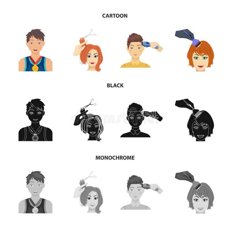 Atleet met een medaille, een kapsel met een elektrische schrijfmachine en ander Webpictogram in beeldverhaal, zwarte, zwart-wit s vector illustratie