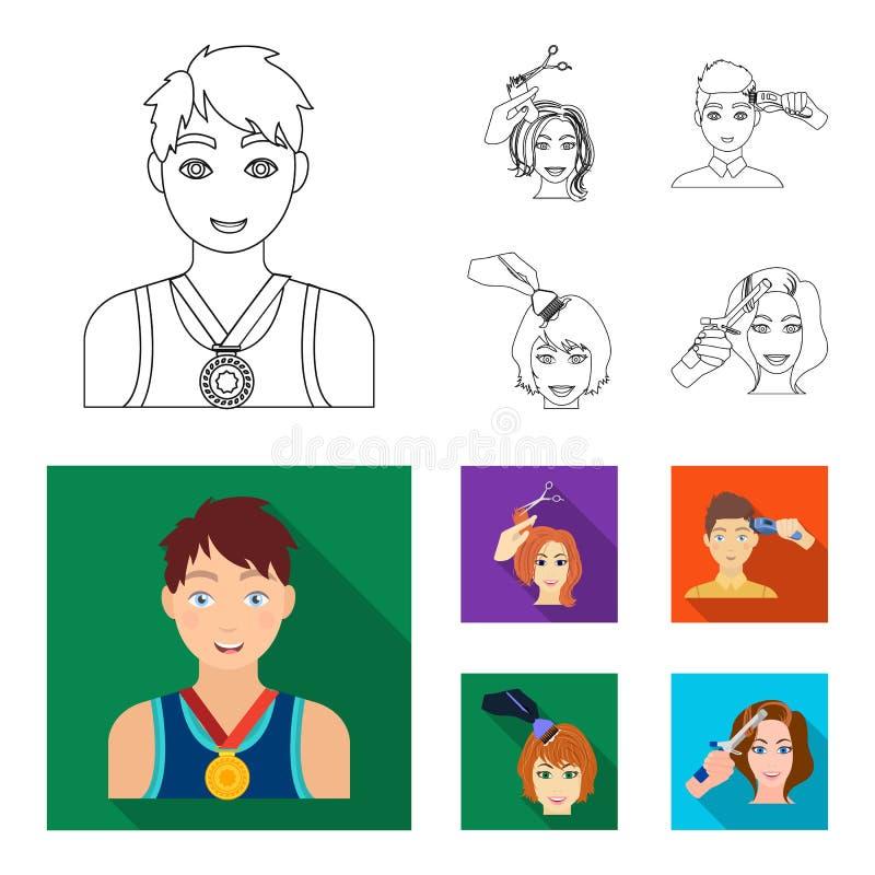 Atleet met een medaille, een kapsel met een elektrische schrijfmachine en ander Webpictogram in overzicht, vlakke stijl Vrouwenka royalty-vrije illustratie