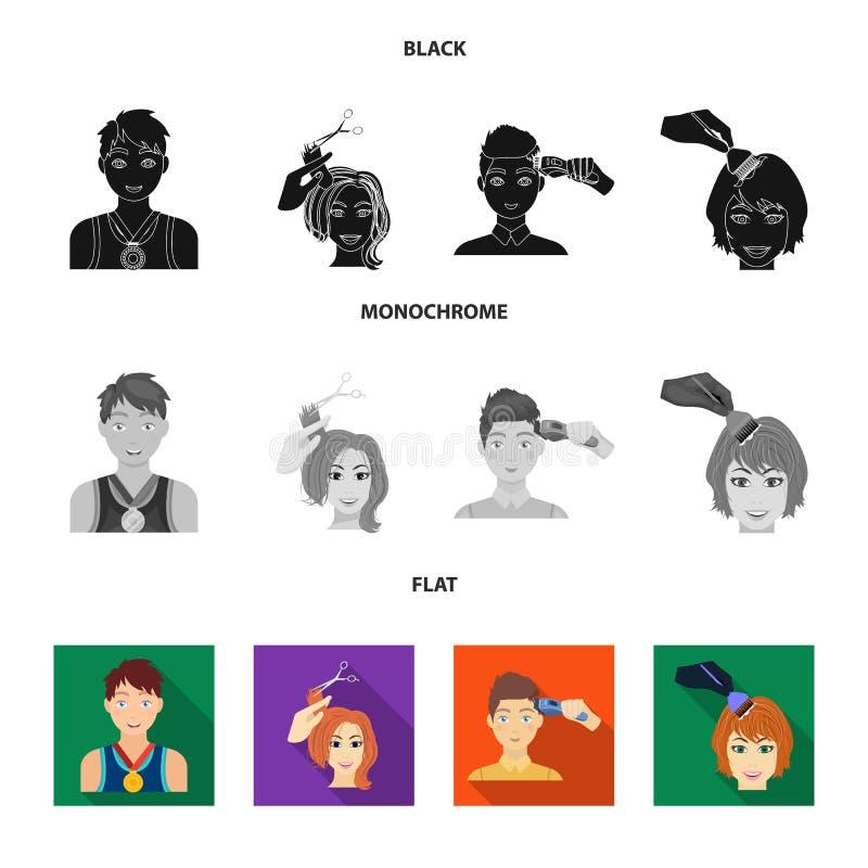 Atleet met een medaille, een kapsel met een elektrische schrijfmachine en ander Webpictogram in zwarte, vlakke, zwart-wit stijl V vector illustratie