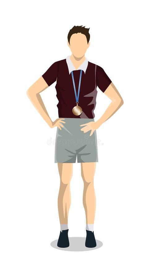Atleet met medaille royalty-vrije illustratie