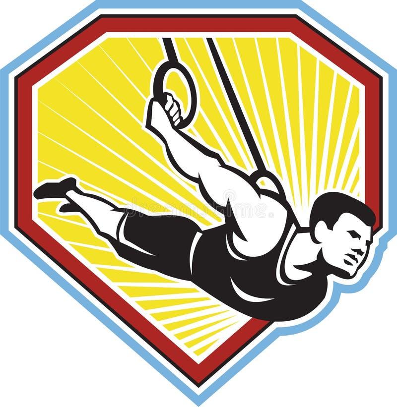 Atleet Muscle-Up Gymnastics Ring Retro royalty-vrije illustratie