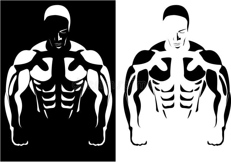 Atleet op de zwart-witte achtergrond stock illustratie