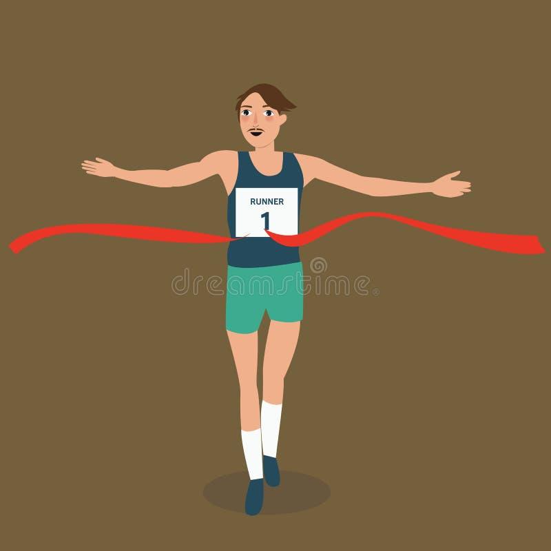 Atleet van de mensen is met klaar de lopende agent de kruising van rood de winnaar vistory succes van de lintlijn royalty-vrije illustratie