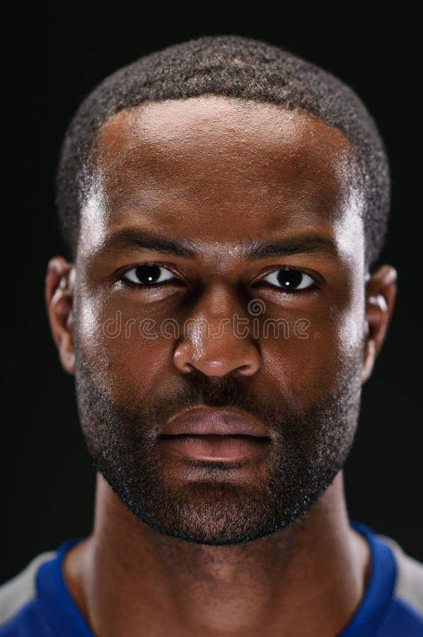 Atleta afroamericano Portrait With Blank Expre fotografía de archivo