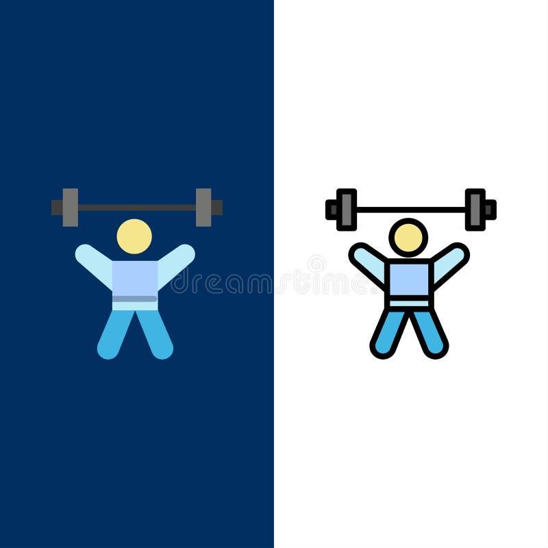 Atleta, atletica, avatar, forma fisica, icone della palestra Il piano e la linea icona riempita hanno messo il fondo blu di vetto royalty illustrazione gratis