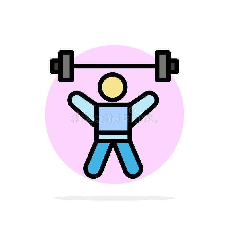 Atleta, atletismo, Avatar, aptitud, icono plano del color de fondo del círculo del extracto del gimnasio stock de ilustración